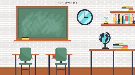 Ilustração de sala de aula da escola