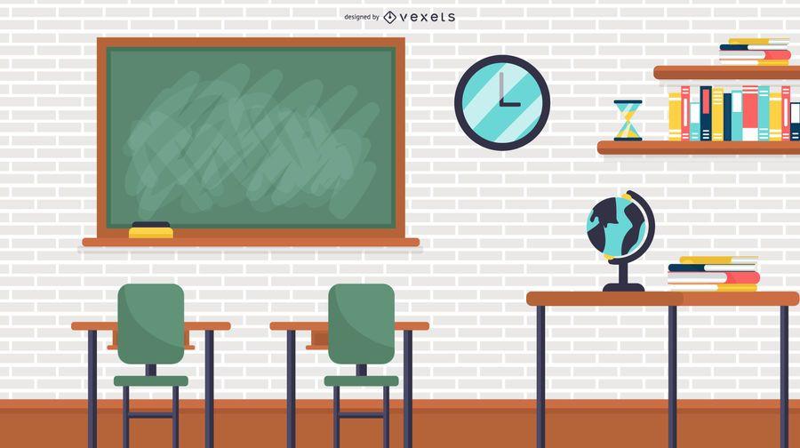 Ilustración de aula de escuela