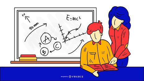 Profesor de ciencias ilustración diseño