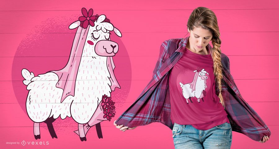 Lama-Braut-T-Shirt Design