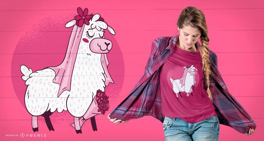 Projeto do t-shirt da noiva do lama