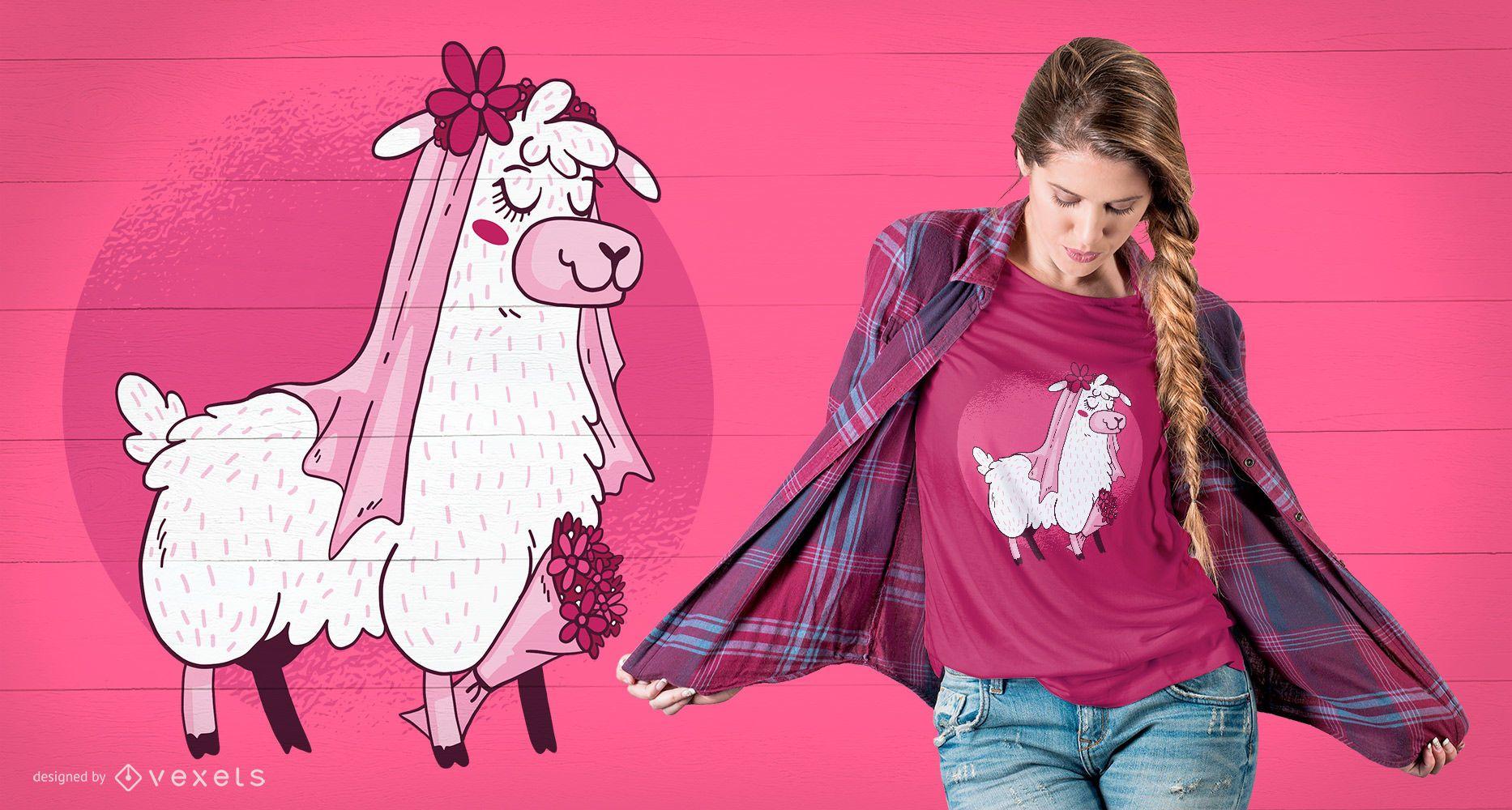 Diseño de camiseta Llama Bride