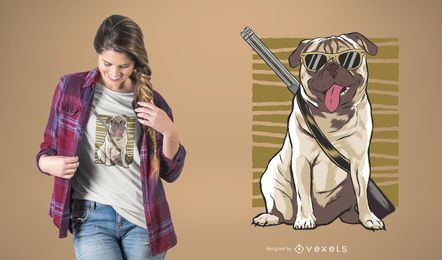 Armed Pug T-Shirt Design