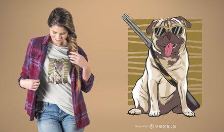 Bewaffneter Mops T-Shirt Design