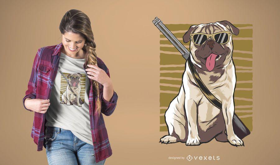 Armed Pug T-Shirt Design