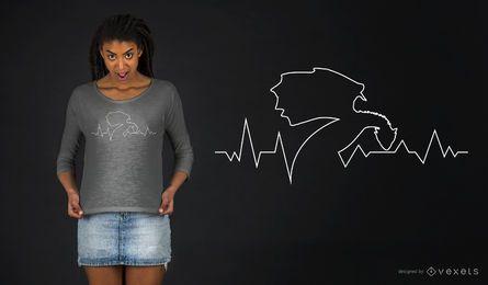 Linha do coração do dragão Design do t-shirt