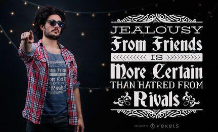 Design do t-shirt das citações da inveja