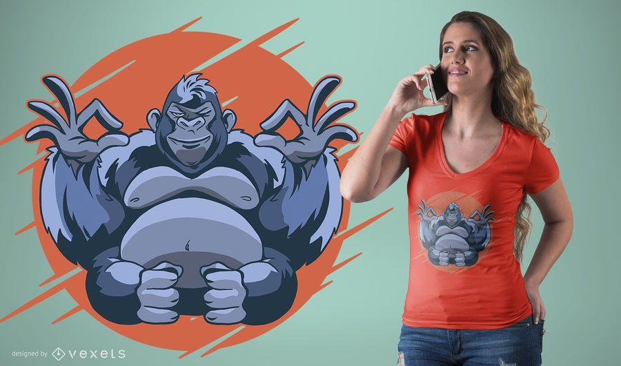 Diseño de camiseta Gorilla Meditaiting