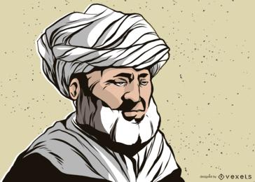 Homem, com, turbante, ilustração