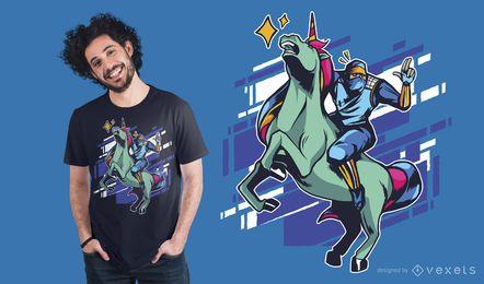 Diseño de camiseta de ninja unicornio