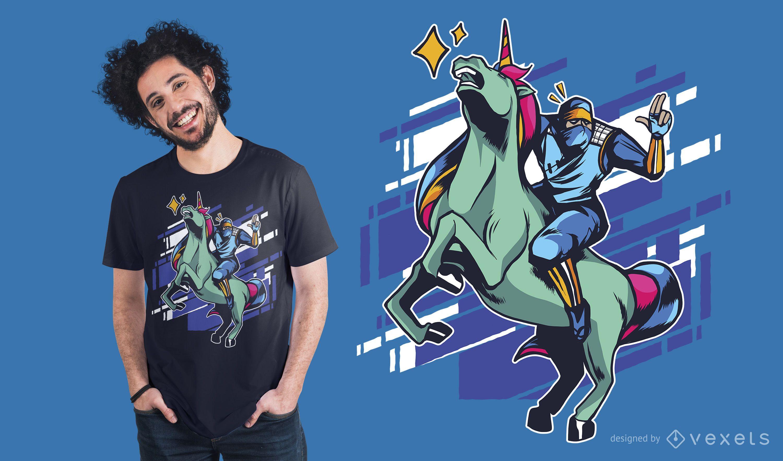 Diseño de camiseta Ninja y unicornio.