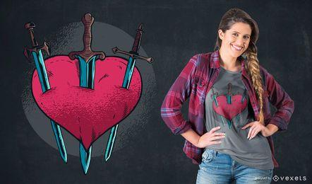 Diseño de camiseta de corazón apuñalado