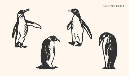Pingüino garabato vector conjunto