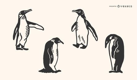 Pinguim Doodle Vector Set