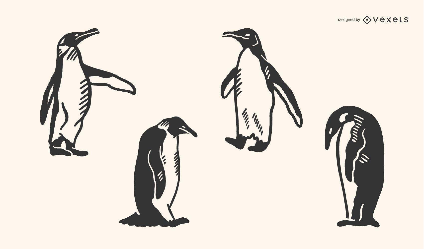 Penguin Doodle Vector Set