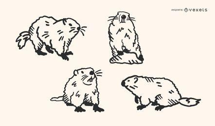 Conjunto de vectores de Doodle de marmota