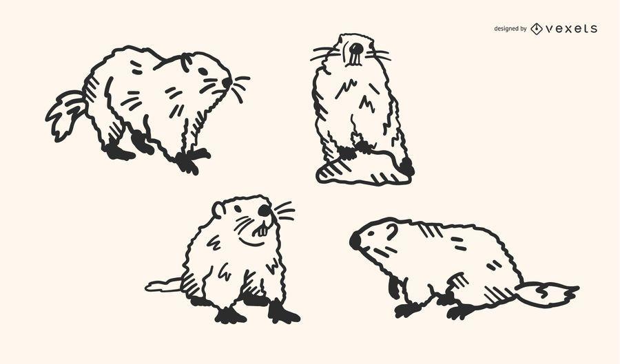 Groundhog Doodle Vector Set