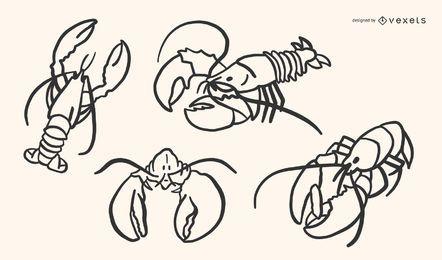 Conjunto de vectores Doodle de langosta