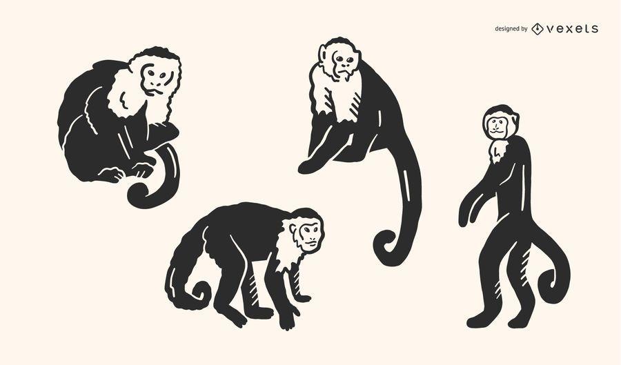 Conjunto de vetores de Doodle de macaco
