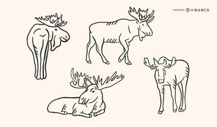 Conjunto de vetores de Doodle de alce