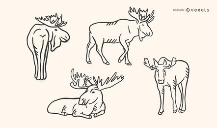 Moose Doodle Vector Set