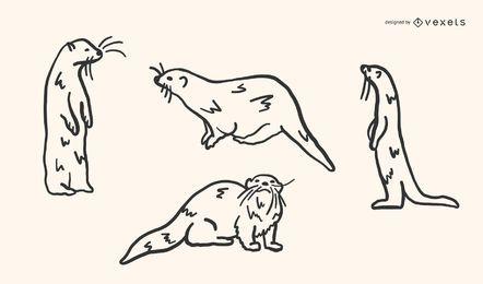 Conjunto de vetores de lontra doodle