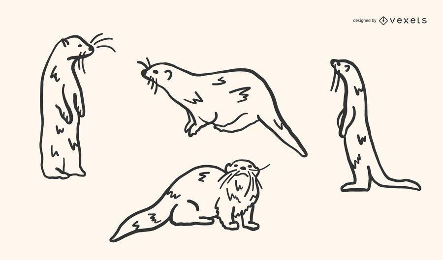 Otter Doodle Vector Set