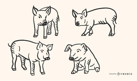 Conjunto de vectores de cerdo Doodle