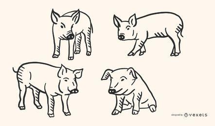 Conjunto de vetores de Doodle de porco