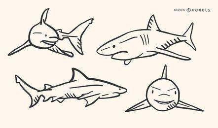 Tiburón garabato vector conjunto