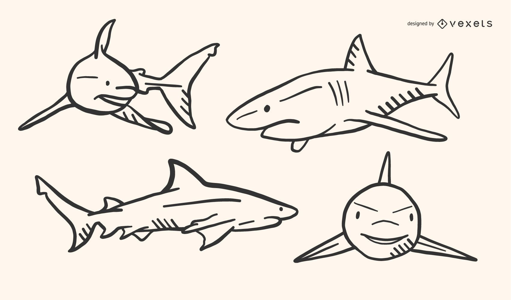 Shark Doodle Vector Set