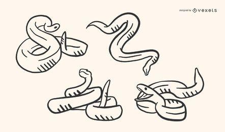 Conjunto de vectores de Doodle de serpiente