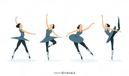 Ballerina-Illustrations-Satz