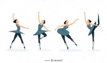 Conjunto de ilustração de bailarina