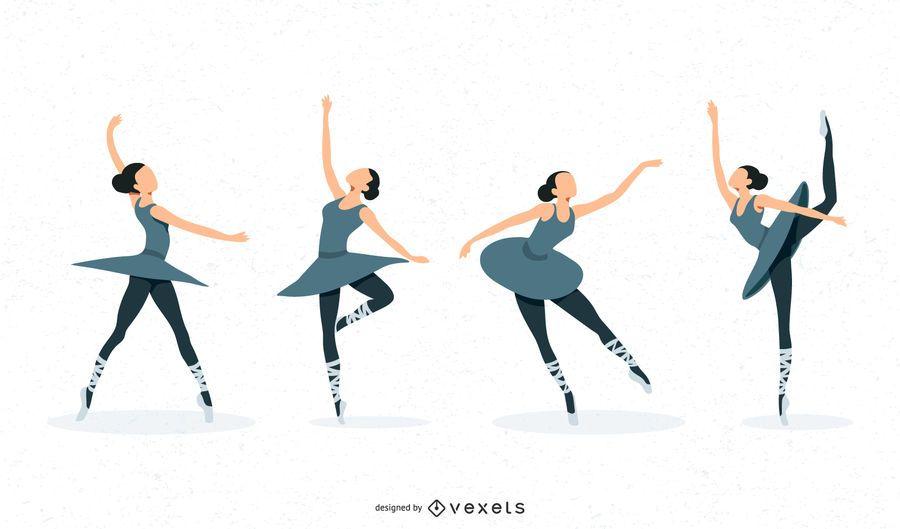 Ballerina-Illustrations-Satz