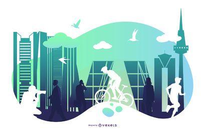 Silueta, ciudad, paisaje, ilustración
