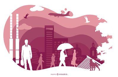 Ilustração de silhueta de paisagem urbana