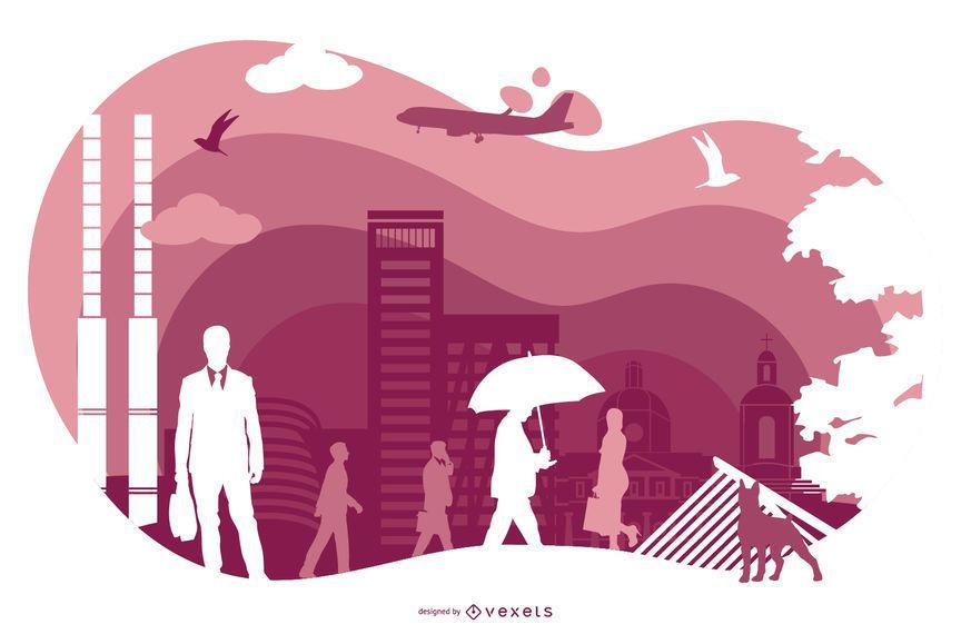 Ilustración de silueta de Dublín