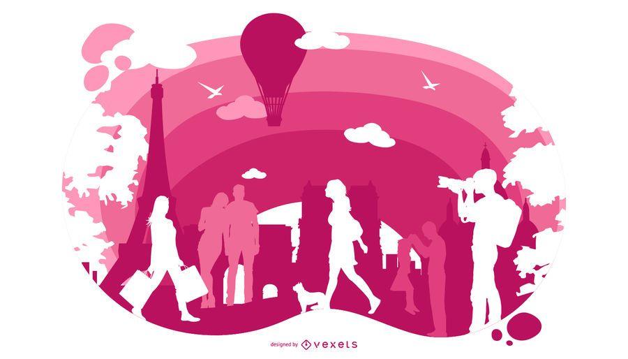 Paris Stadtbild Illustration