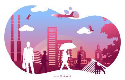 Amanecer silueta paisaje ilustración