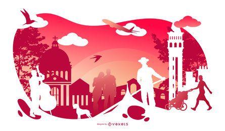 Diseño de silueta cultural de Italia
