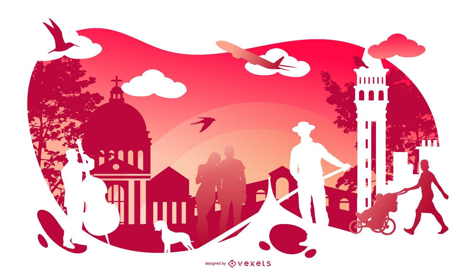 Italy Cultural Silhouette Design