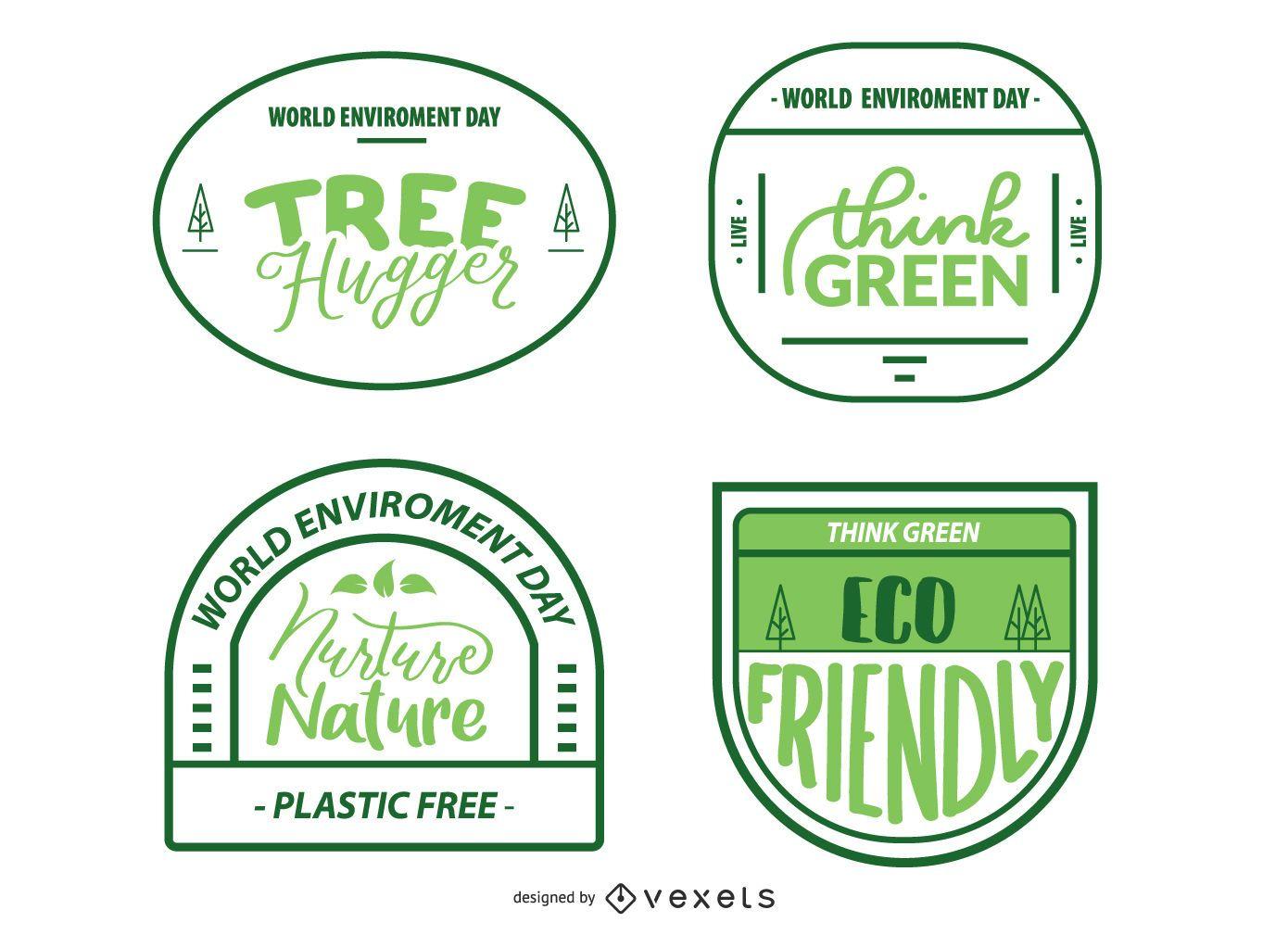 World Environment Badges Set