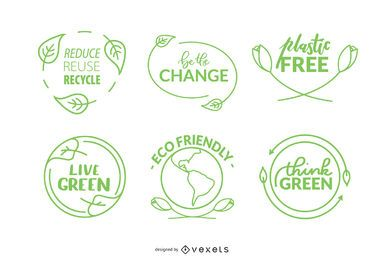 Nature Badges Icon Set