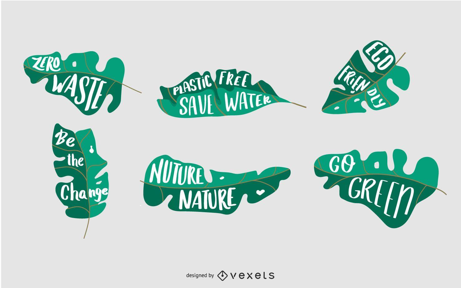 Diseño de hoja de insignias de naturaleza