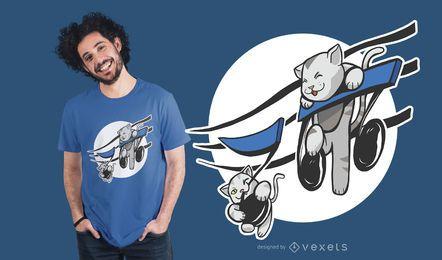 Diseño de camiseta de gatos jugando con música