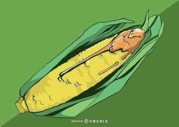 Ilustración de maíz con queso