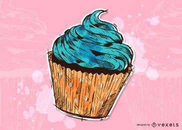 Ilustración de cupcake grunge