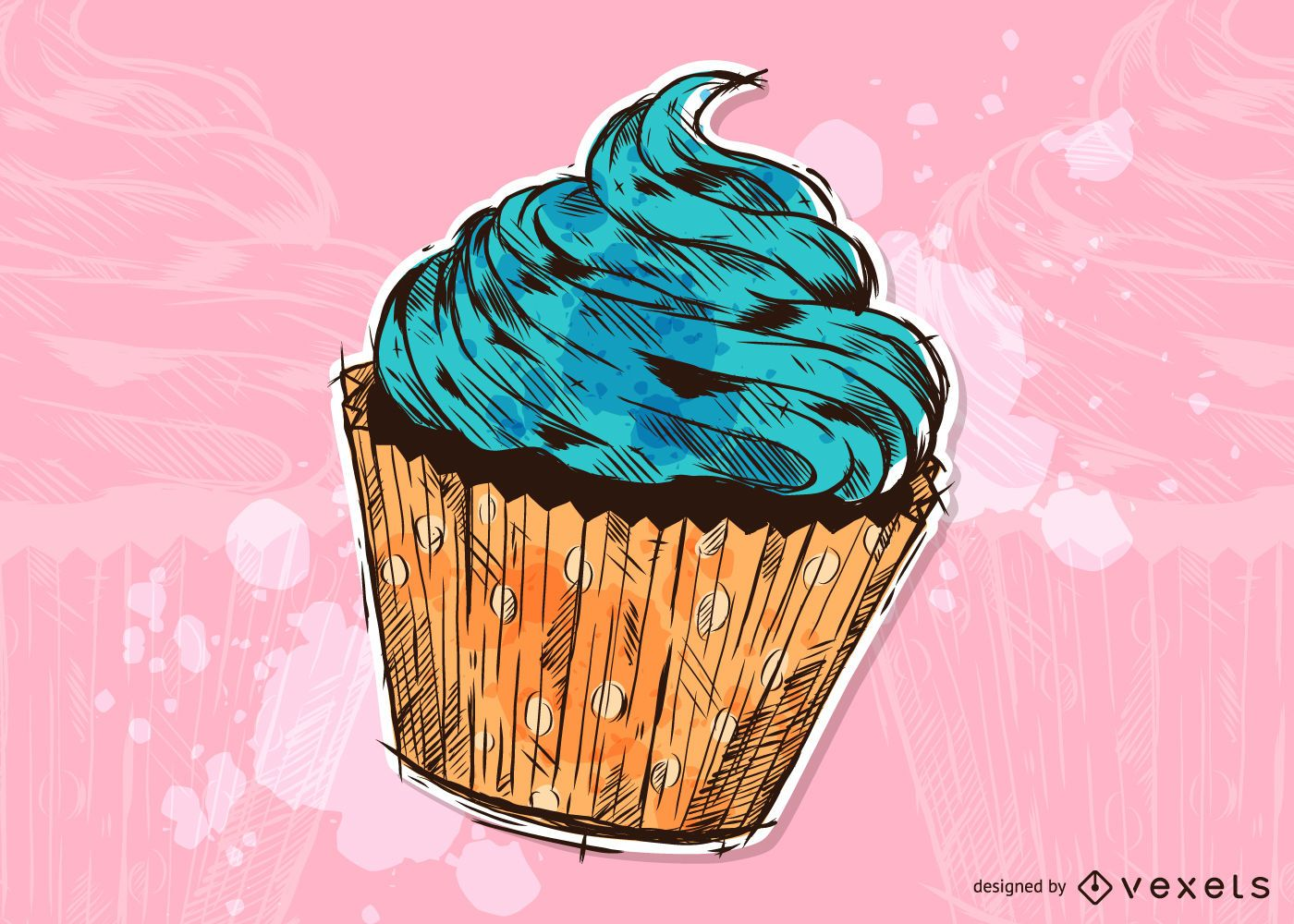 Cupcake Grunge Illustration