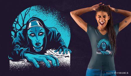Projeto escuro do t-shirt da freira